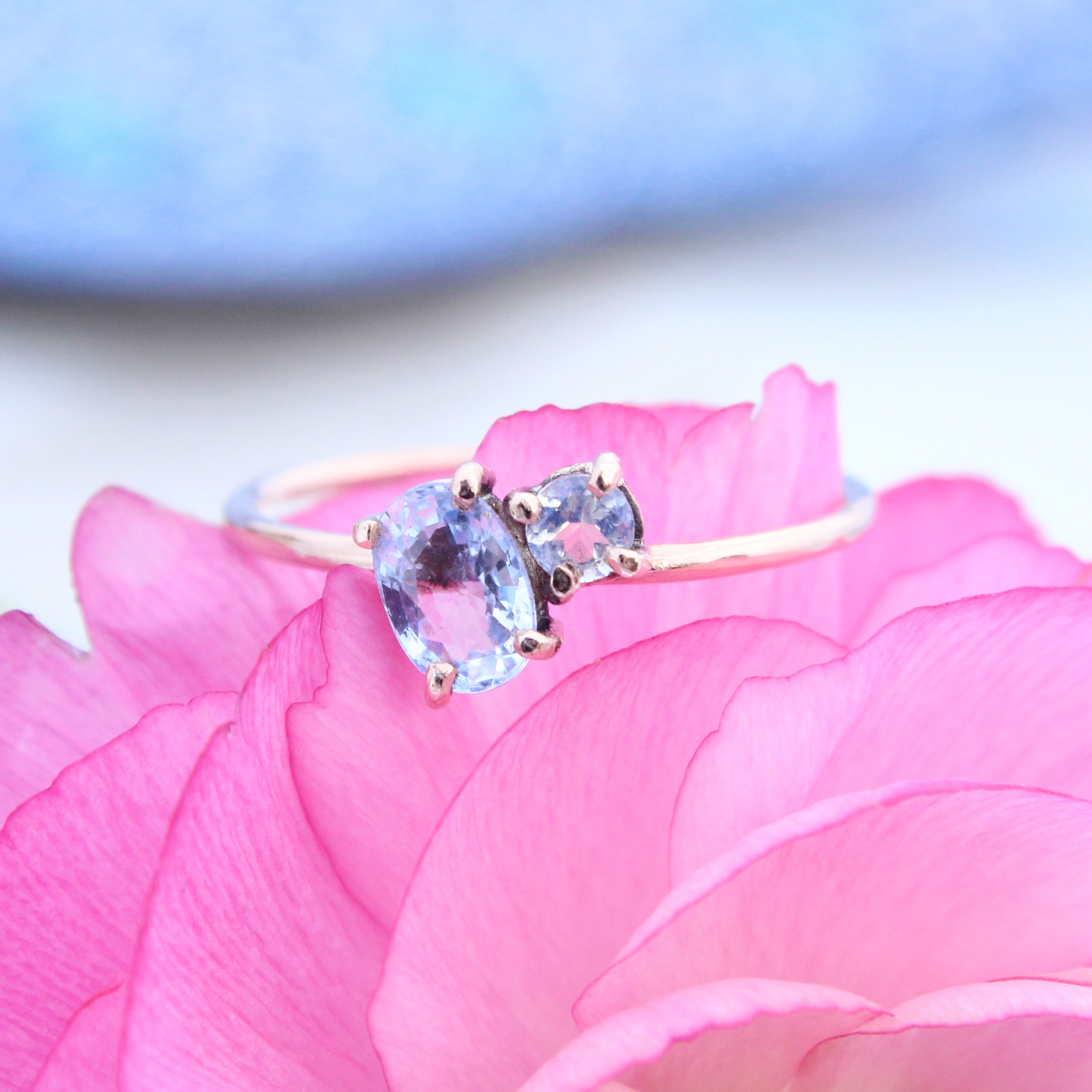 Cosmos 9ct Rose Gold Sapphire And Moonstone Ring