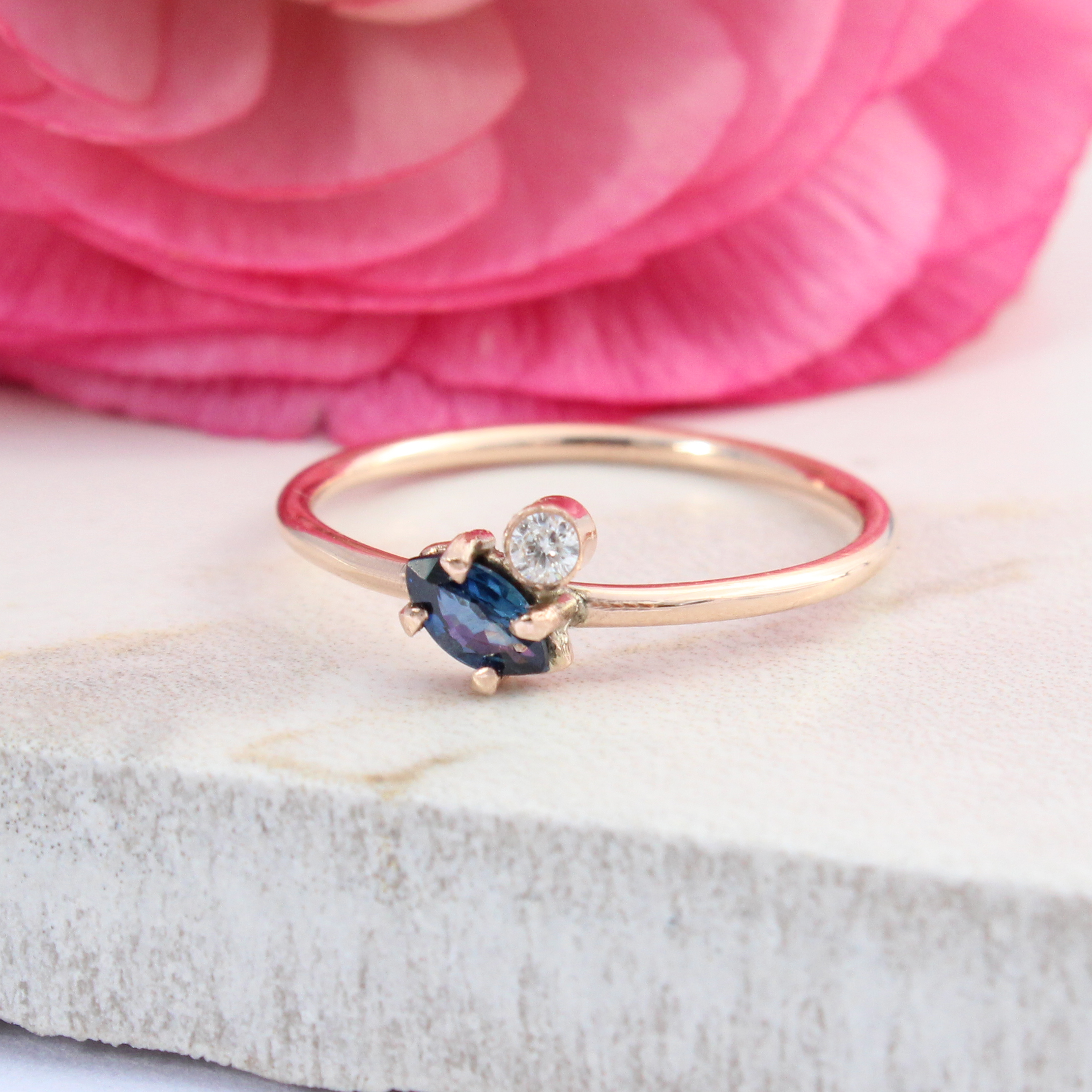 Athene Sapphire And Diamond 9ct Rose Gold Ring